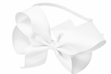 Beyond Creations Girls Ribbon Wrapped Headband with Extra Large Grosgrain Bow - White