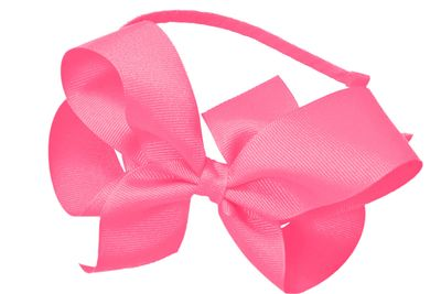 Girls Ribbon Wrapped Headband with Extra Large Grosgrain Bow - Hot PInk