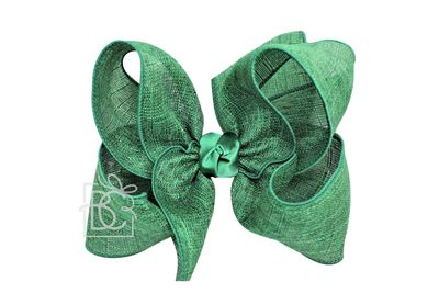 Girls Shimmer Linen Hair Bow on Clip - Emerald Green