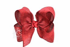 Girls Shimmer Linen Hair Bow on Clip - Scarlet Red