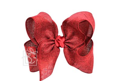Beyond Creations Girls Shimmer Linen Hair Bow on Clip - Scarlet Red