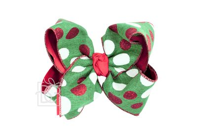 Beyond Creations Girls Specialty Christmas Hair Bow - Emerald Green / Red & White Dots