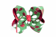 Girls Specialty Christmas Hair Bow - Emerald Green / Red & White Dots