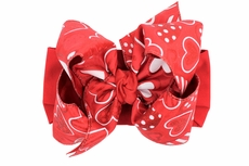 Girls Wide Pantyhose Headband with Attached Extra Large Bow - Red Valentine Hearts