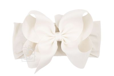 Girls Wide Pantyhose Headband with Attached Extra Large Grosgrain Bow - Antique White