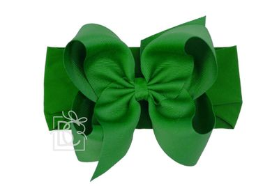 Girls Wide Pantyhose Headband with Attached Extra Large Grosgrain Bow - Emerald Green