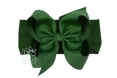 Girls Wide Pantyhose Headband with Attached Extra Large Grosgrain Bow - Forest Green
