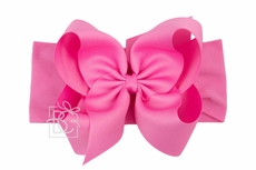 Girls Wide Pantyhose Headband with Attached Extra Large Grosgrain Bow - Hot Pink