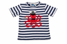 Gnu Brand by Lemon Loves Lime Boys Blue Stripe Captain Octopus Shirt