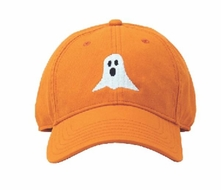 Harding Lane Kids Needlepoint Baseball Hat - Halloween Ghost on Bright Orange