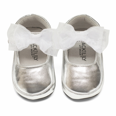 Jack & Lily Baby / Toddler Girls - Harper Ballet with Bows - Silver Metallic