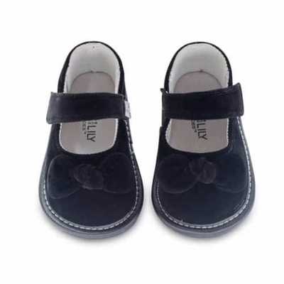 Jack & Lily Baby / Toddler Girls Shoes - Maisy Velvet Bow - Black