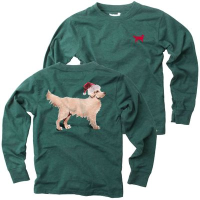 Jack Thomas Boys Evergreen Shirt - Labrador Dog Wearing Santa Hat on Back