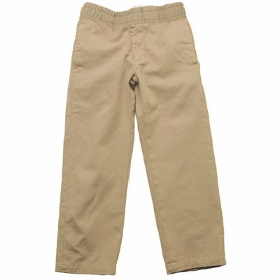 Jack Thomas Boys Faux Fly Pull On Pants - Tan Khaki