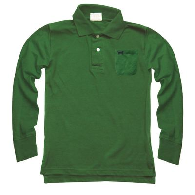 Jack Thomas Boys Long Sleeved Pique Polo Shirt - Evergreen Green
