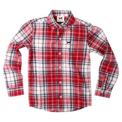 Jack Thomas Boys Red Holiday Plaid Button Down Dress Shirt