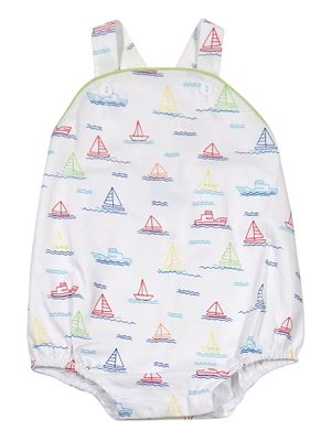 James & Lottie Baby Boys Louie Crossback Bubble - Sailboat Print