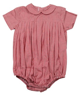 James & Lottie Baby Boys Red Gingham Finn Bubble with Collar