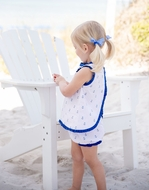 James & Lottie Baby / Toddler Girls Blue Anchors Print Sally Bloomers Set