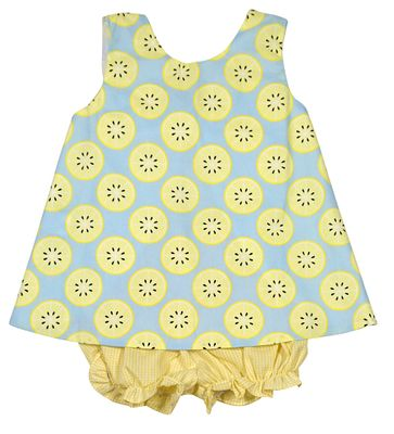 James & Lottie Baby / Toddler Girls Blue / Yellow Lemons Print Lottie Bloomers Set - Big Bow on Back
