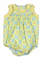 James & Lottie Baby / Toddler Girls Blue / Yellow Lemons Print Rosie Bubble
