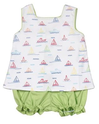 James & Lottie Baby / Toddler Girls Blythe Bloomers Set - Sailboat Print - Green Bows on Back