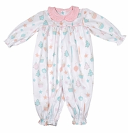 James & Lottie Baby / Toddler Girls Pink / Aqua Christmas Sweets Kadence Romper