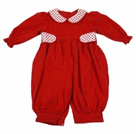 James & Lottie Baby / Toddler Girls Hattie Romper - Red Corduroy with Valentine Hearts Trim