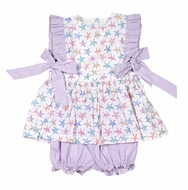 James & Lottie Baby / Toddler Girls Lavender Summer Starfish Bloomers Set