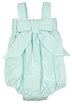 James & Lottie Baby / Toddler Girls Millie Bubble - Big Bow - Mint Green Seersucker