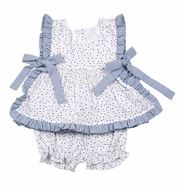 James & Lottie Baby / Toddler Girls Orange & Blue Stars Abigail Starfish Bloomers Set - Blue Side Bows