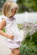 James & Lottie Baby / Toddler Girls Pink Gingham & Floral Knit Maisy Bloomer Set