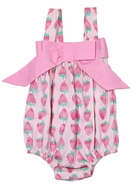 James & Lottie Baby / Toddler Girls Pink Strawberry Millie Bubble with Bow