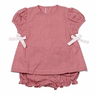 James & Lottie Baby / Toddler Girls Red Gingham Cece Bloomer Set