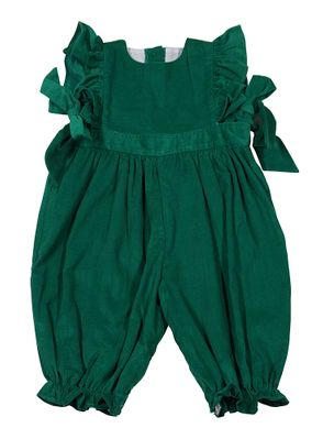 James & Lottie Baby / Toddler Girls Ruthie Green Corduroy Ruffle Romper