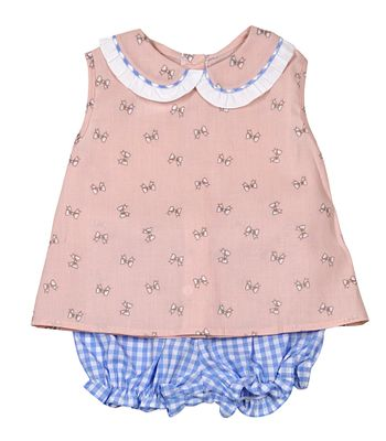 James & Lottie Baby / Toddler Girls Sally Bloomers Set - Blue Check & Pink Bows Print