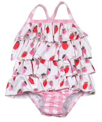 James & Lottie Baby / Toddler Girls Taylor Pink Gingham Berry Sweet Ruffle Front Swimsuit