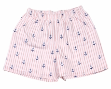 James & Lottie Boys Blue Anchors Print Conrad Shorts - Blue Pocket on Back