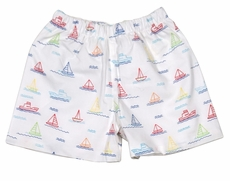 James & Lottie Boys Conrad Shorts - Sailboat Print - Green Back Pocket
