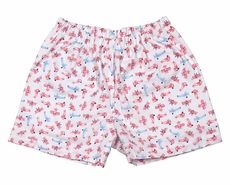 James & Lottie Boys Red / Blue Airplanes Print Conrad Shorts - Striped Pocket on Back