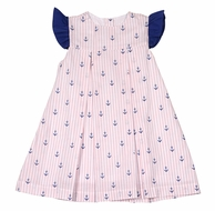 James & Lottie Girls Blue Anchors Print Maggie Dress