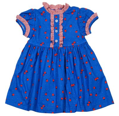 James & Lottie Girls Annie School Dress - Blue with Tiny Red Apples Print