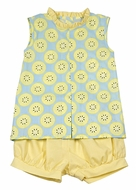 James & Lottie Girls Blue / Yellow Lemons Print Emma Banded Shorts Set