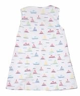 James & Lottie Girls Blythe Dress - Sailboat Print - Green Bows on Back
