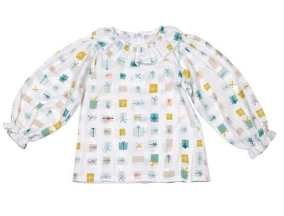 James & Lottie Girls Callie Ruffle Blouse - Birthday Presents Print