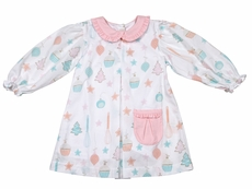 James & Lottie Girls Pink / Aqua Christmas Sweets Kadence Dress