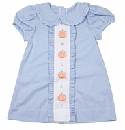 James & Lottie Girls Claire Dress - Blue Gingham - Embroidered Pumpkins