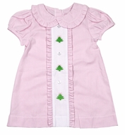 James & Lottie Girls Clare Dress - Pink Gingham - Embroidered Christmas Trees