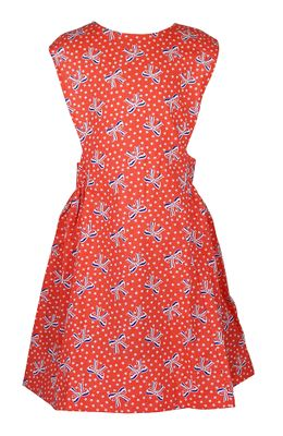 James & Lottie Girls Collins Dress - Red with Patriotic Bows Print