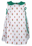 James & Lottie Girls Frannie Dress - Watermelon Popsicles with Green Ties